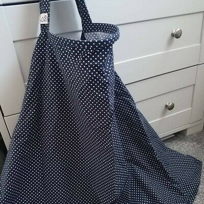 Bebe Chic nursing cover Navy blue with polka dots