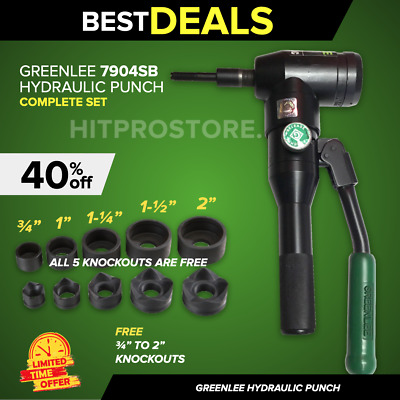 Greenlee 7904, L@@K,  Quick Draw 90 Hydraulic Punch Driver, Free Knockout Set