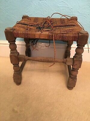Vintage & Rustic Small Stool with  Wood Legs & String Top - For Renovation