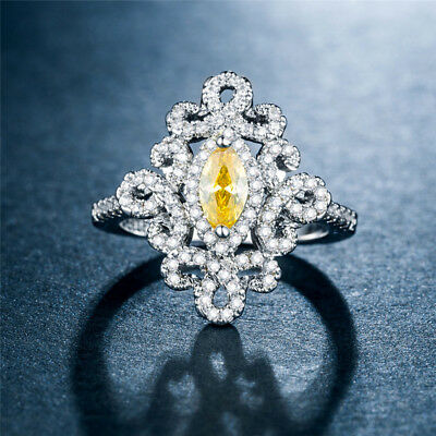 Marquise Cut Citrine 925 Silver Wedding Engagement Ring Pretty Ring Size 8