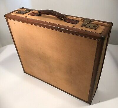 "Vintage Hartmann Skymate Canvas & Leather Suitcase 21x18x5.75"" 1940's Luggage"