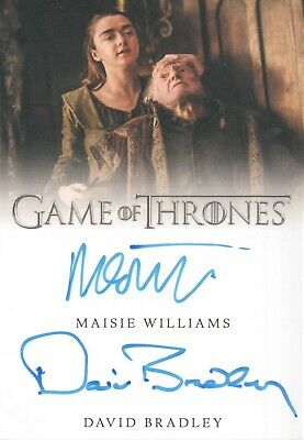 Game Of Thrones Season 8, Maisie Williams / David Bradley Dual Autograph Card