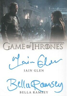 Game Of Thrones Season 8, Iain Glen / Bella Ramsey Dual Autograph Card