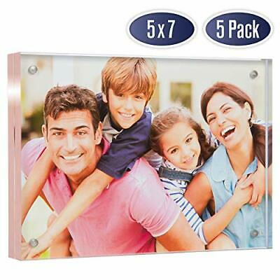 Acrylic Picture Frame 5x7 with Rose Gold Edges (5 Pack)