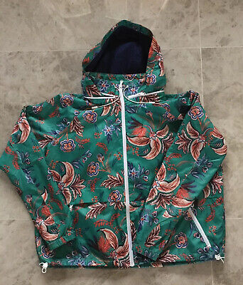 Next Outerwear Pac Mac Green Floral Hooded Zipped Jacket Uk12 VGC