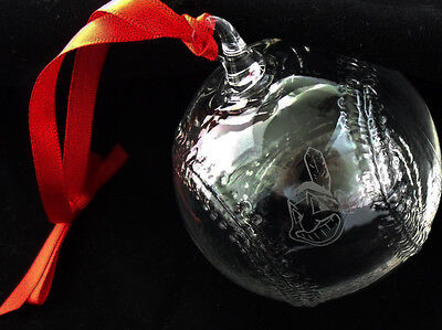 NEW in BOX STEUBEN glass BASEBALL ORNAMENT CLEVELAND INDIANS Chief Wahoo heart