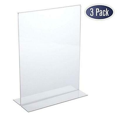 Acrylic Sign Holder 8.5 x 11 - Acrylic T Shape Table Top Display (3 Pack)