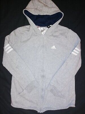VGC Girls Boys ADIDAS Grey Zip Up Tracksuit Top Jacket Hoodie 13-14