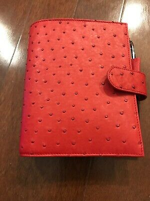 Gillio Firenze Ring Planner Organiser Compagna A6 Real Ostrich Ruby Red