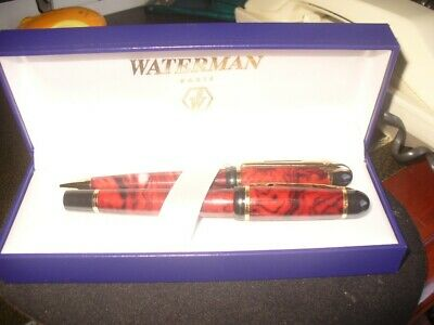 Waterman Pen Set Red Marble Type Never Used Over 15 Years Old Still In Original