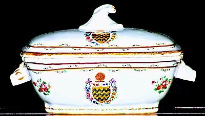 MINT 18th Century Chinese Export Qianlong British Market Armorial Covered Tureen