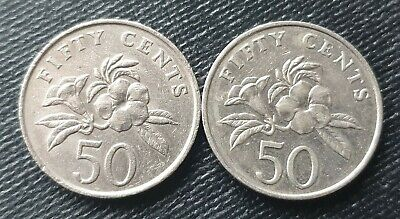 Singapore 50 cents, dates vary one reeded and lettered