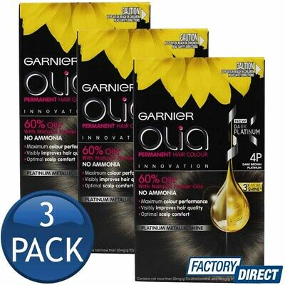 3 x GARNIER OLIA PERMANENT HAIR COLOUR 4P DARK BROWN PLATINUM SHADE AMMONIA FREE