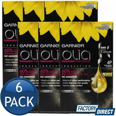 6 x GARNIER OLIA PERMANENT HAIR COLOUR 4P DARK BROWN PLATINUM SHADE AMMONIA FREE