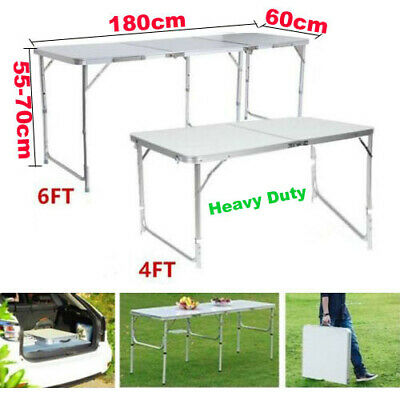 6FT Folding Portable Trestle Table Heavy Duty Plastic Camping Garden Party BBQ