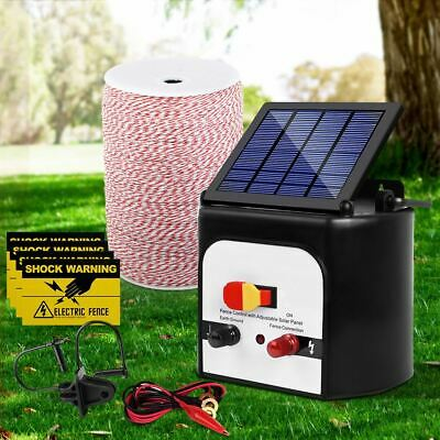 Electric Fence Energiser Livestock Solar Powered Energizer Poly Fencing Wire 8km
