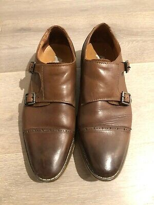 Aquila Monk Strap Shoes Brown Leather Size 42