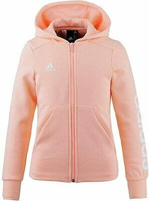 Adidas Girls Linea Hoodie Hoody Ages 4/5 5/6 7/8 9/10 11/12 Years Haze Coral £30