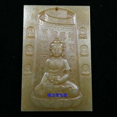 """3"""" Chinese old antique Natural handcarved hetian jade Buddha statue Pendant"""