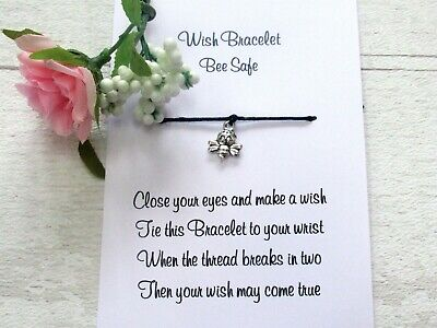 Bee Safe Wish Bracelet Friendship Gift Bee Charm Isolation Card Thinking of you