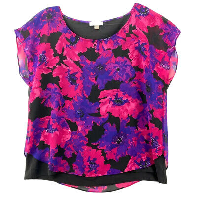 Calvin Klein Womens Top Black Pink Floral Cap Sleeve Scoop Neck Stretch Lined XL