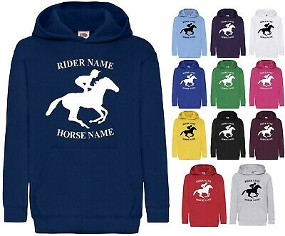 Personalised Printed Hoodie Equestrian Horse Riding Racing Boys Girls Gift Tops