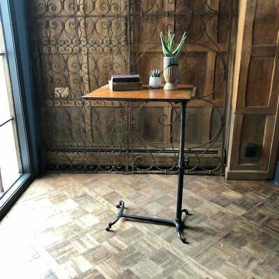 Medical Bedside Table, Adjustable Side Table, Victorian Cast Iron Table