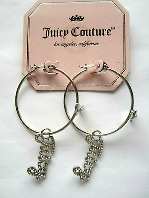 Juicy Couture Round Shape Silver Crystal Hoop Bow Tie Earrings, NEW
