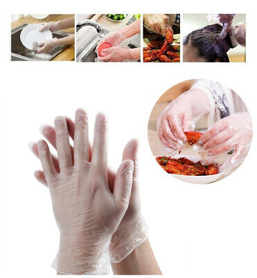 100X Medical Disposable Powder Free Latex Vinyl Protective Gloves Safety Food UK
