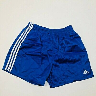 Vintage Adidas Men's Blue 3 Stripe Polyester Activewear Shorts Coach Phys Ed