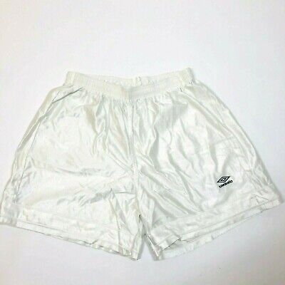 Vintage Umbro Made in USA White Mesh Nylon Soccer Active Short Sz. XL High Rise