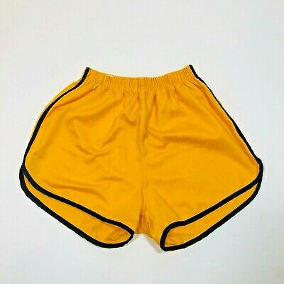 VTG 70's Merrygarden Athletic Wear Yellow High Rise Short Semi Pro Shorts LG USA