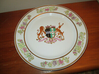 """Large Antique Chinese Export Armorial Porcelain 10"""" Plate Heavy Hand Painted Art"""
