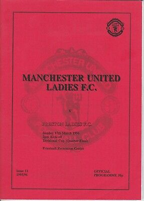 VINTAGE RARE MAN.UTD LADIES PROG.v PRESTON LADIES (CUP),1996, V.COLL, EXC.COND.