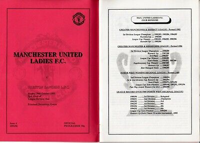 MAN.UTD LADIES PROG.v PRESTON,1995/96,VERY RARE AS COVER ON WRONG WAY, EXC.COND.