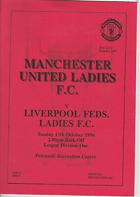 EARLY VINTAGE RARE MAN.UTD LADIES PROG.v LIVERPOOL FEDS 1996, , COLL. EXC.COND.