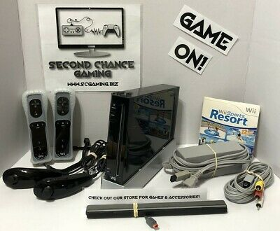 Nintendo Wii Black Console RVL-001 - Wii Sports Resort Bundle - Tested Working
