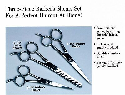 "New Hair Cutting Scissors Precision 3-piece Barber Shears Set size5.5"" and 6.5"""