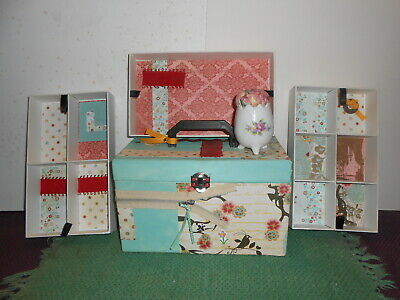 """Handmade Decorated Sewing Box/Case W/ Trays, Porcelain Pin Cushion 10"""" X 6"""" X 6"""""""
