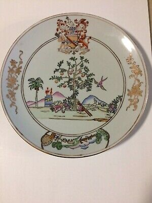 """VTG chinese export large hand painted porcelain plate 10"""""""