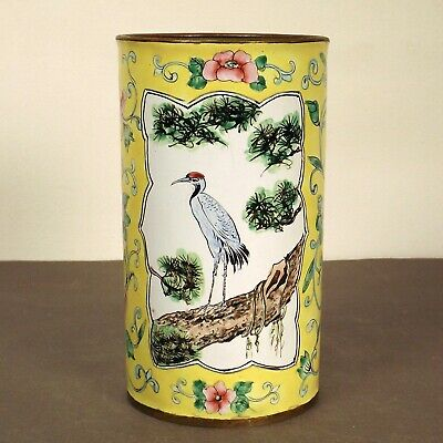 """Antique Late Qing Chinese Canton Enamel Copper Birds Small Brush Pot Vase 5x2.8"""""""