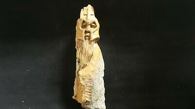 """HAND CARVED  whimsical 6"""" wood spirit Viking wall hanging  carved from 100 year"""