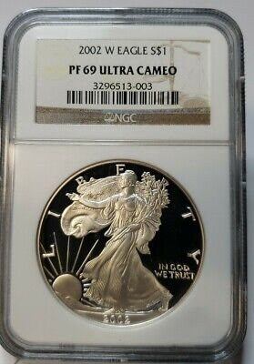 2002-W $1 Proof Silver American Eagle PF69 Ultra Cameo NGC