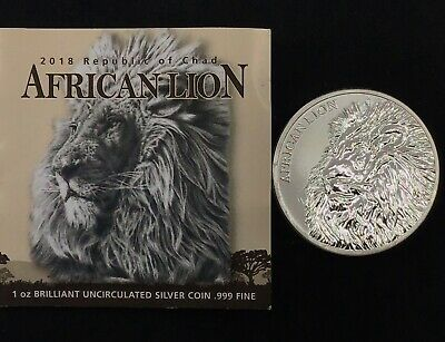 2018 Republic of Chad African Lion 1 oz Silver 5000F NGC PF69 UC FR SKU52893