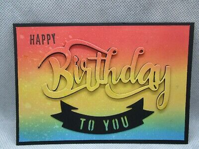 2 Ink Blended Eclipse Happy Birthday To You Card Toppers Die Cuts...cardmaking