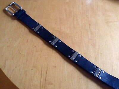 Vintage Eurometal Made In Italy Mens / Women's Leather Belt. Punk Retro Design