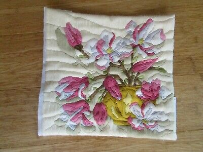 Semco Completed Long Stitch Of A Vase Of Flowers 29.5Cms High X 30Cms Wide