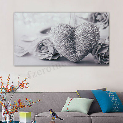 45x80cm Gray Heart Rose Canvas Wall Art Painting Pictures Home Room Decor  @