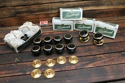 Bulk Vintage NOS Gainsborough Black Gold Brass Door Knob Porcelain Gilt Handle