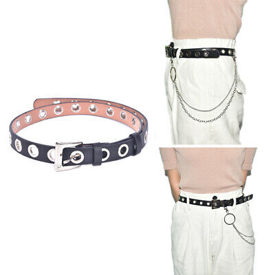WOMEN MEN PUNK Leather Belt Rivet Eyelet Stud Grommet Holes